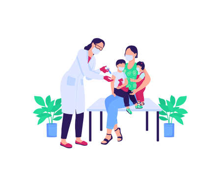 Doctor vaccinating children flat color vector faceless characters. Mother with kids. People in medical masks. Healthcare isolated cartoon illustration for web graphic design and animation Illustration