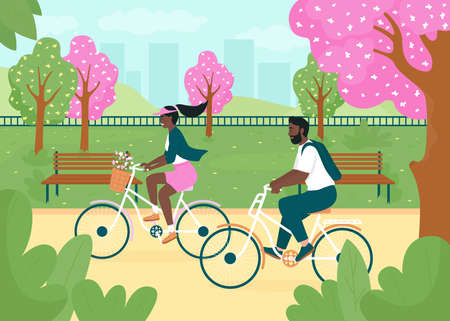 Riding bikes in spring park flat color vector illustration. Smiling woman and man on bicycles. Healthy lifestyle. Happy african american couple 2D cartoon characters with urban garden on background