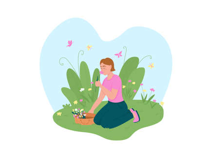 Girl picking up flowers 2D vector web banner, poster. Outdoor recreation. Smiling woman sniffing daisies flat character on cartoon background. Spring blossom printable patch, colorful web element
