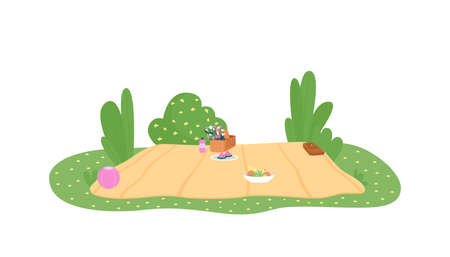 Picnic blanket 2D vector web banner, poster. Table cloth, basket with flowers. Outdoor activity flat scene on cartoon background. Seasonal spring recreation printable patch, colorful web element