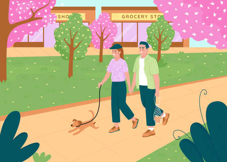 Couple walk in spring park flat color vector illustration. Romantic dating. Family walk pet dog. Happy boyfriend and girlfriend holding hands 2D cartoon characters with urban garden on background Illustration