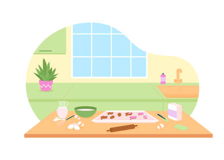 Kitchen for baking easter cookies 2D vector web banner, poster. Cooking utensils. Home interior flat scene on cartoon background. Spring holiday preparation printable patch, colorful web element
