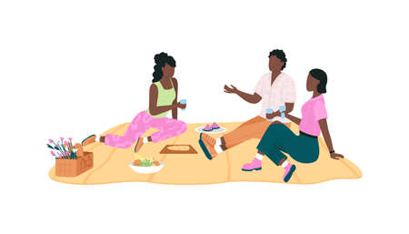 African american friend group on picnic flat color vector faceless characters. Outdoor spring recreational activity isolated cartoon illustration for web graphic design and animation Illustration
