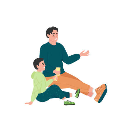 Family on picnic flat color vector detailed character. Father and son bonding. Friendly talk. Outdoor spring recreation isolated cartoon illustration for web graphic design and animation