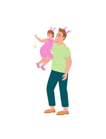 Happy father and daughter celebrating easter flat color vector detailed characters. Dad, child in bunny ears. Spring holiday isolated cartoon illustration for web graphic design and animation