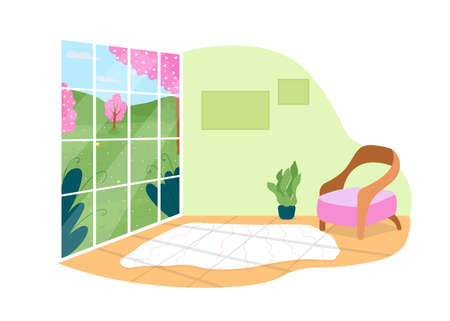 House with panoramic view on park 2D vector web banner, poster. Living room with large window flat scene on cartoon background. Spring season. Cozy modern home printable patch, colorful web element