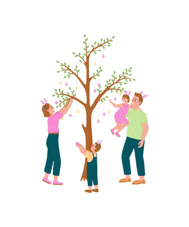 Happy family hanging easter eggs on tree flat color vector detailed characters. Traditional activity for kids. Spring holiday isolated cartoon illustration for web graphic design and animation