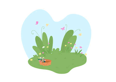 Spring garden 2D vector web banner, poster. Basket with flowers. Springtime flat scenery on cartoon background. Park with flowers and butterflies printable patch, colorful web element