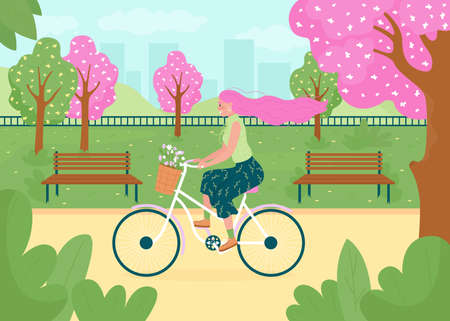 Spring recreational activity flat color vector illustration. Happy bicyclist. Flowers on trees, in bike basket. Outdoor activity. Woman on bicycle 2D cartoon character with landscape on background Illustration