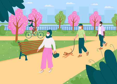 Walk in spring park during quarantine flat color vector illustration. Social distance in city. Trees with flowers. Divers 2D cartoon characters in medical masks with public garden on background