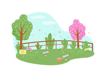 Park for easter egg hunt 2D vector web banner, poster. Kids activity. Public garden for children's game flat scenery on cartoon background. Spring holiday printable patch, colorful web element Illustration