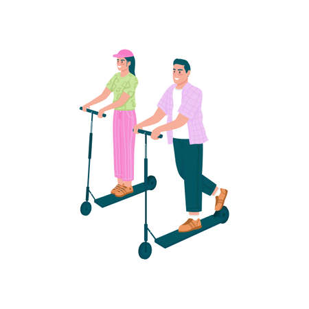 Happy man and woman riding electric scooters flat color vector detailed characters. Couple dating. Spring outdoor activity isolated cartoon illustration for web graphic design and animation