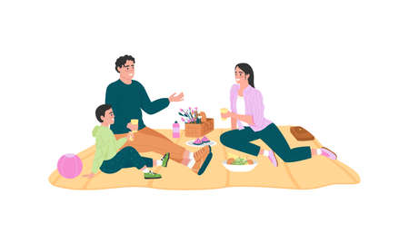 Happy caucasian family on picnic flat color vector detailed characters. Parents with kid sitting on blanket. Spring recreation isolated cartoon illustration for web graphic design and animation