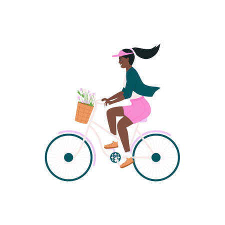 African american woman in bicycle flat color vector detailed character. Cycling happy girl. Spring outdoor activity isolated cartoon illustration for web graphic design and animation