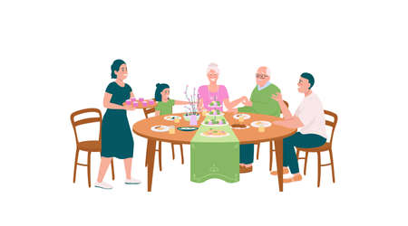 Happy family at dining table for Easter flat color vector detailed characters. Festive dinner. Spring holiday celebration isolated cartoon illustration for web graphic design and animation