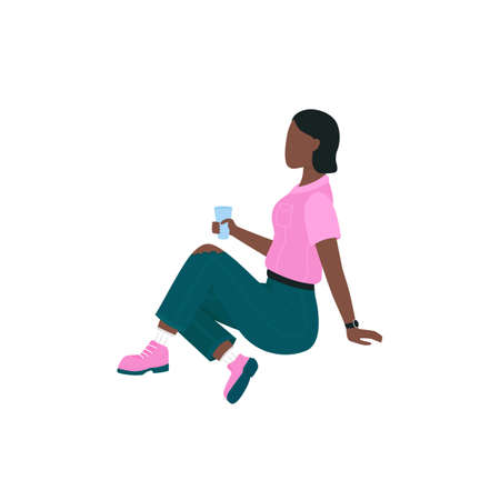 African american woman on picnic flat color vector faceless character. Girl sit on ground, drink from cup. Spring outdoor activity isolated cartoon illustration for web graphic design and animation