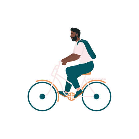 African american man in bicycle flat color vector detailed character. Smiling rider on bike. Spring outdoor activity isolated cartoon illustration for web graphic design and animation