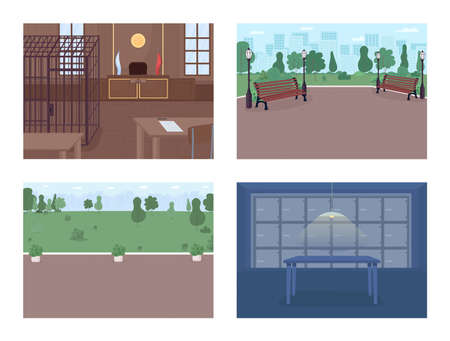 Police department facilities flat color vector illustration set. Finding evidences and catching criminals. Justice and law representation 2D cartoon interior with beautiful furniture on background