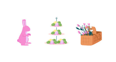 Easter celebration flat color vector detailed object set. Traditional decoration. Bunny, easter eggs. Spring holiday isolated cartoon illustration for web graphic design and animation collection Illustration