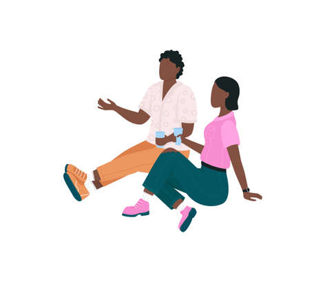 African american couple on picnic flat color vector faceless character. People sit, drink and talk. Outdoor spring recreation isolated cartoon illustration for web graphic design and animation Illustration