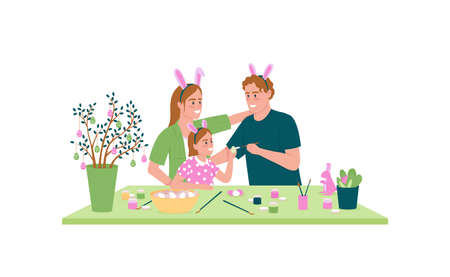 Happy family decorating easter eggs flat color vector detailed character. Parents with child. Spring holiday preparation isolated cartoon illustration for web graphic design and animation Illustration
