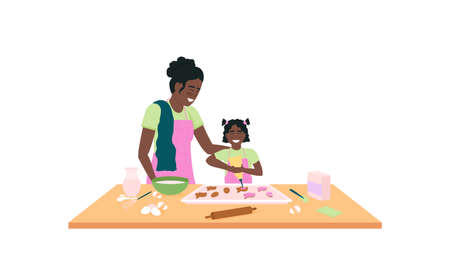 African american mother and daughter baking easter cookies flat color vector detailed character. Parent with offspring. Happy family isolated cartoon illustration for web graphic design and animation