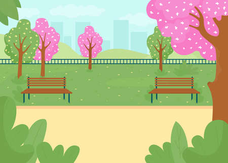 Spring park flat color vector illustration. City street with blossoming trees. Blooming flowers. Public garden street, sidewalk with benches. Springtime 2D cartoon cityscape with skyline on background