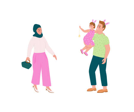 Happy family flat color vector detailed character set. Muslim woman. Father and daughter in bunny ears. Spring holiday isolated cartoon illustration for web graphic design and animation collection
