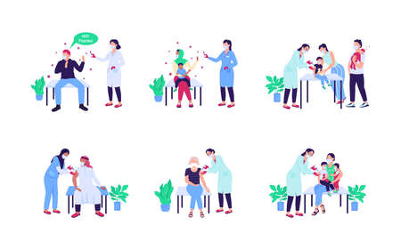 Patients receiving vaccine flat color vector faceless character set. Anti vax, no drug. Doctor visit. Health care isolated cartoon illustration for web graphic design and animation collection Illustration