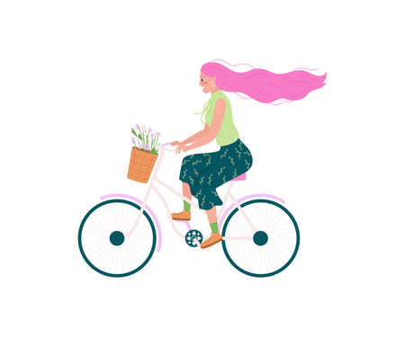 Caucasian woman in bicycle flat color vector detailed character. Girl on bike, flowers in basket. Spring outdoor activity isolated cartoon illustration for web graphic design and animation Illustration