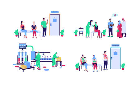 Hospital patients and workers flat color vector faceless character set. Vaccine production. Disease treatment. Vaccination isolated cartoon illustration for web graphic design and animation collection Illustration