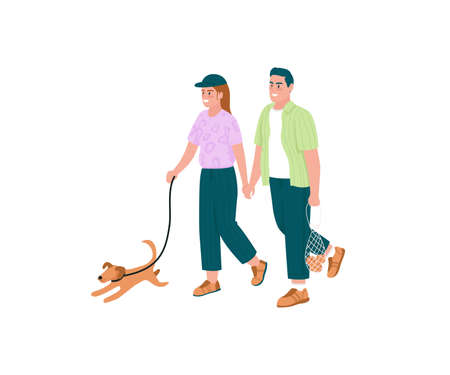 Happy couple walking dog flat color vector detailed characters. Man and woman holding hands. Family outdoor activity isolated cartoon illustration for web graphic design and animation