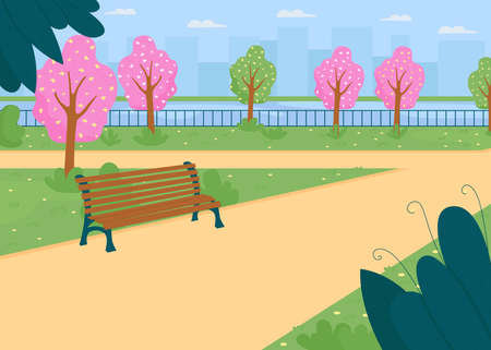 City park near river in spring flat color vector illustration. Street for walk. Blooming trees. Outdoor scenery. Pathway in public garden. Springtime 2D cartoon cityscape with skyline on background