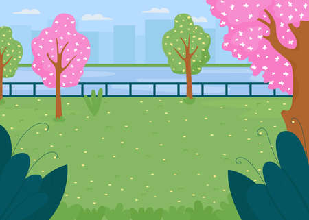 Spring city park field flat color vector illustration. Meadow near river in town district. Lawn for outdoor activity. Springtime 2D cartoon cityscape with skyscrapers on background Illustration
