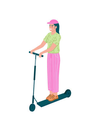 Happy girl on electric scooter flat color vector detailed character. Woman riding on personal transport. Outdoor activity for spring isolated cartoon illustration for web graphic design and animation