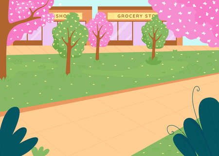 City park in spring flat color vector illustration. Trees with flowers. Street in downtown district. Outdoor recreation. Springtime 2D cartoon cityscape with shop fronts on background