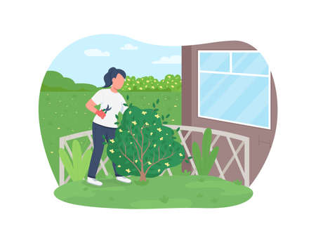 Garden work 2D vector web banner, poster. Gardener cutting hedge. Woman trimming bush flat character on cartoon background. Spring outside work printable patch, colorful web element