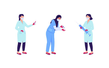 Women doctors with syringes flat color vector faceless character set. Nurse doing drug shot. Vaccination isolated cartoon illustration for web graphic design and animation collection