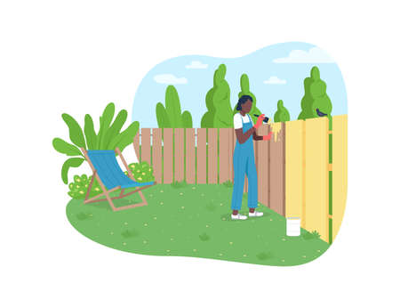 Garden maintenance 2D vector web banner, poster. African american woman painting fence flat character on cartoon background. Suburb home back yard printable patch, colorful web element