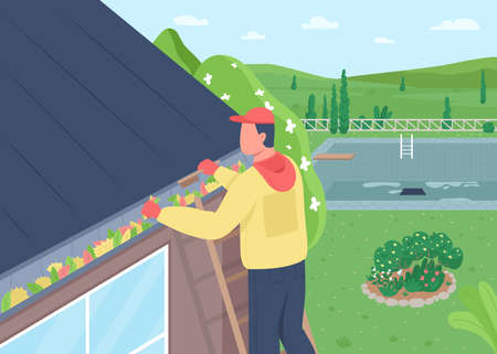 Cleaning leaves from house roof flat color vector illustration. Home maintenance. Sweeping rooftop. Spring seasonal cleaning. Man on ladder 2D cartoon character with landscape on background Illustration