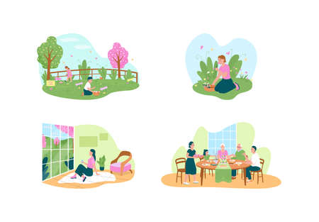 Easter celebration 2D vector web banner, poster set. Pick flowers, egg hunt. Happy family flat characters on cartoon background. Spring season holiday printable patch, colorful web element collection