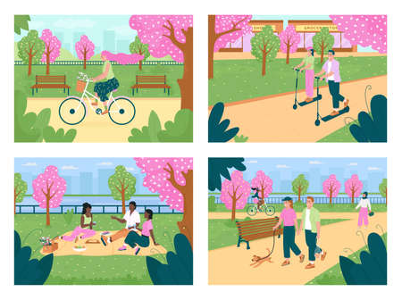 Recreation in spring park flat color vector illustration set. Spending times with friends. Flowers on trees. Multicultural 2D cartoon characters with cityscape on background collection Illustration