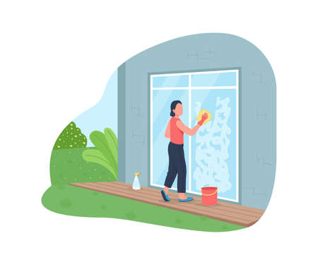Washing exterior window 2D vector web banner, poster. Home chores. Woman doing housework flat characters on cartoon background. Spring outdoor cleaning printable patch, colorful web element