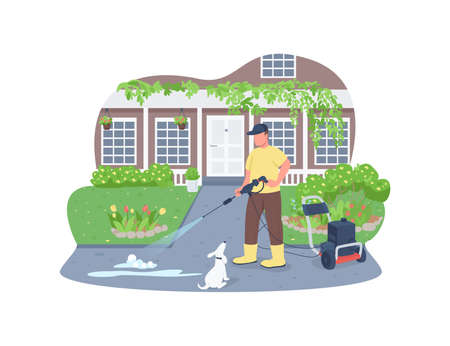 Sidewalk cleaning with power wash gun 2D vector web banner, poster. Professional cleaner flat characters on cartoon background. Spring outdoor cleaning work printable patch, colorful web element Illustration