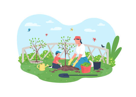 Planting tree together 2D vector web banner, poster. Mom with son in garden. Mother with child flat characters on cartoon background. Family activity printable patch, colorful web element