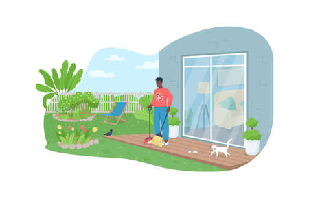 Outdoor cleaning work 2D vector web banner, poster. African american man sweeping porch with broom flat character on cartoon background. Spring printable patch, colorful web element