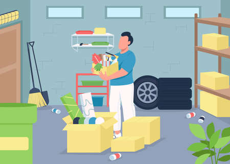Garage cleaning flat color vector illustration. Household decluttering. Spring cleaning. Home chores. Man with washing equipment 2D cartoon character with messy basement on background
