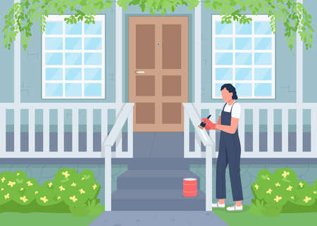 Outdoor home renovating flat color vector illustration. Spring season cleaning, housework. Woman painting fence on porch 2D cartoon character with residential house exterior on background