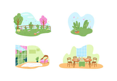 Easter holiday traditional activities 2D vector web banner, poster set. Spring season flat scenery on cartoon background. Springtime recreation printable patch, colorful web element collection