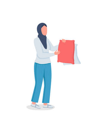Muslim woman doing laundry flat color vector faceless character. Drying pillows. Housekeeping, home chores. Spring cleaning isolated cartoon illustration for web graphic design and animation
